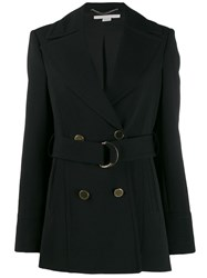 Stella Mccartney Double Breasted Belted Coat Black