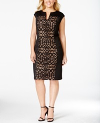 Connected Plus Size Lace Panel Sheath Dress