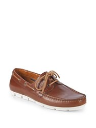 Vince Camuto Don Leather Boat Shoes Caramel