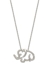 Giani Bernini Cubic Zirconia Pave Elephant Pendant Necklace In Sterling Silver