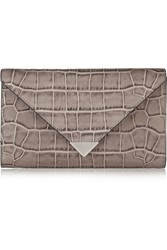 Alexander Wang Prisma Croc Embossed Leather Wallet Nude