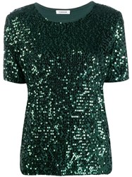 P.A.R.O.S.H. Sequin Embroidered T Shirt Green
