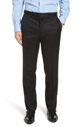 John W. Nordstrom Big And Tall Torino Traditional Fit Flat Front Solid Trousers Black