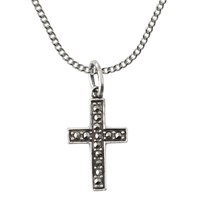Nina B Sterling Silver Marcasite Cross Pendant Silver