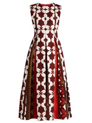Valentino Cuban Flower Print Cotton Blend Dress Red Multi
