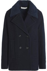 Vanessa Bruno Faux Shearling Trimmed Wool Blend Peacoat Navy