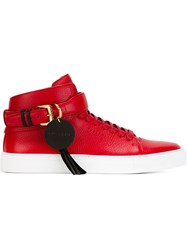 Buscemi Buckle Detail Hi Top Sneakers Red