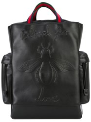Gucci Bee Embossed Backpack Women Cotton Calf Leather One Size Black
