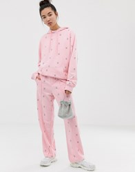 Lazy Oaf Relaxed Joggers With Sad Face Embroidery Co Ord Black