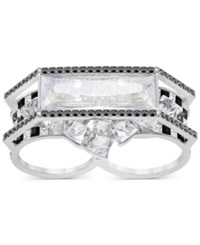 Swarovski Silver Tone Black And Clear Crystal Double Ring