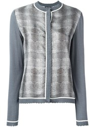 Salvatore Ferragamo Striped Snake Effect Cardigan Grey