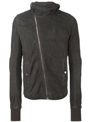 Rick Owens Hooded Leather Jacket Grey