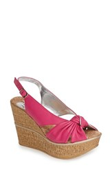 Women's Love And Liberty 'Audra' Slingback Wedge Fuchsia Leather