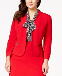 Nine West Plus Size Hook And Eye Zip Pocket Jacket Fire Red