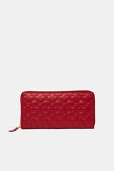 Comme Des Garcons Embossed Long Zip Around Wallet Ptn B Red