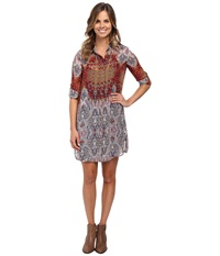 Kut From The Kloth Sienna Shirtdress Tan Coral Women's Dress Multi