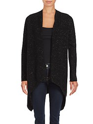 Cashmere Saks Fifth Avenue Hi Lo Cardigan Black White