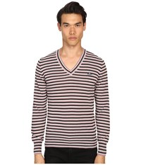 Vivienne Westwood Stripe Classic V Neck Sweater Black Grey Pink Stripe