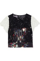 Marissa Webb Imani Open Back Two Tone Corded Lace And Floral Print Silk Top Black