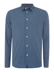 Linea Nicholson Long Sleeve Geo Print Shirt Navy