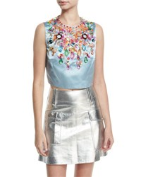 Miu Miu Jeweled Satin Crop Top Light Blue
