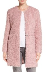 Via Spiga Women's Reversible Faux Fur Coat Dusty Pink