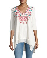 Johnny Was Raquel V Neck Jersey Tunic White