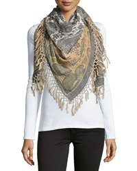 Theodora And Callum Ombre Paisley Fringe Scarf Latte
