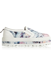 Msgm Floral Print Twill Slip On Sneakers Blue