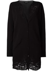 Twin Set Lace Detailing Buttoned Cardigan Black