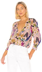 Tanya Taylor Gylda Blouse In Pink. Jungle Leaves And Nude