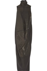 Rick Owens Seahorse Draped Sequined Wool Blend Dress Dark Gray