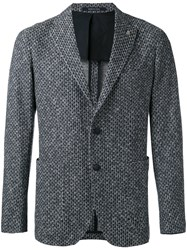 Tagliatore Textured Blazer Men Cotton Cupro 46 Blue