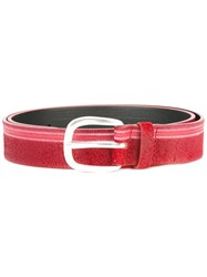 Orciani Striped Belt Red
