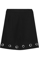 Rebecca Minkoff Eden Eyelet Embellished Crepe Mini Skirt Black