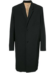 Christophe Lemaire Single Breasted Coat Men Cotton Spandex Elastane Viscose Wool 52 Black
