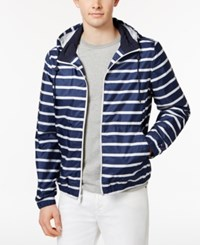 Tommy Hilfiger Men's Striped Hooded Windbreaker Peacoat
