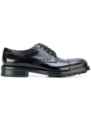 Prada Lace Up Derby Shoes Calf Leather Leather Suede Rubber Black