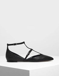 Charles And Keith Micro Stud Embellished Caged Flats Black