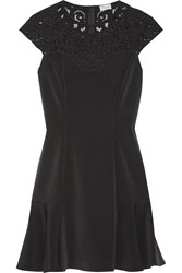Temperley London Epoque Lace Trimmed Crepe Mini Dress Black