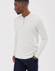 Selected Homme Long Sleeve Polo Shirt With 1 4 Zip Neck In Organic Cotton Beige
