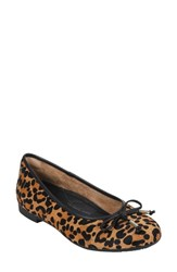 Earth Alina Skimmer Flat Brown Print Leather