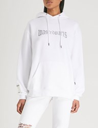 Wasted Paris London Logo Print Cotton Jersey Hoody White