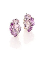 Alexis Bittar Fine Velvet Marquis Amethyst Grey Diamond And Sterling Silver Clip On Earrings Silver Amethyst