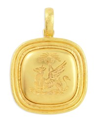Elizabeth Locke 19K Gold Griffin And Palm Livery Button Pendant