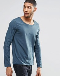 Asos Long Sleeve T Shirt With Scoop Neck In Blue Blue