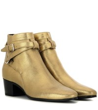 Saint Laurent Blake 40 Metallic Leather Ankle Boots Gold