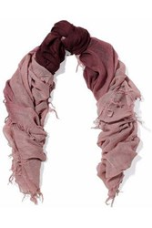 Chan Luu Fringe Trimmed Cashmere And Silk Blend Gauze Scarf Blush