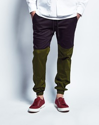 Publish Two Tone Joggers In Black Olive
