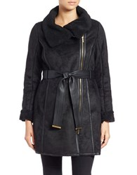 Bagatelle Faux Fur Trimmed Belted Coat